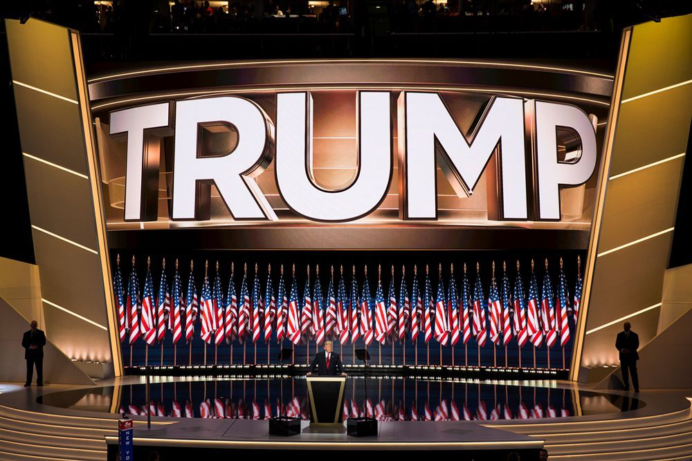 CLEVELAND, USA - JULY 21: Donald Trump accepts the Republican nomination for President on the last night of the 2016 Republican National Convention in Cleveland, Ohio, USA on July 21, 2016. (Photo by Samuel Corum/Anadolu Agency/Getty Images)