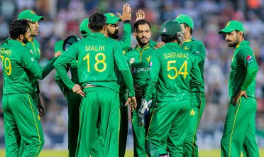SOUTHAMPTON, ENGLAND - AUGUST 24: Mohammad Nawaz of Pakistan celebrates taking the wicket of Jason Roy of England during the 1st Royal London One day International match between England and Pakistan at The Ageas Bowl Cricket Ground on August 24, 2016 in London, United Kingdom.  (Photo by Mitchell Gunn/Getty Images)
