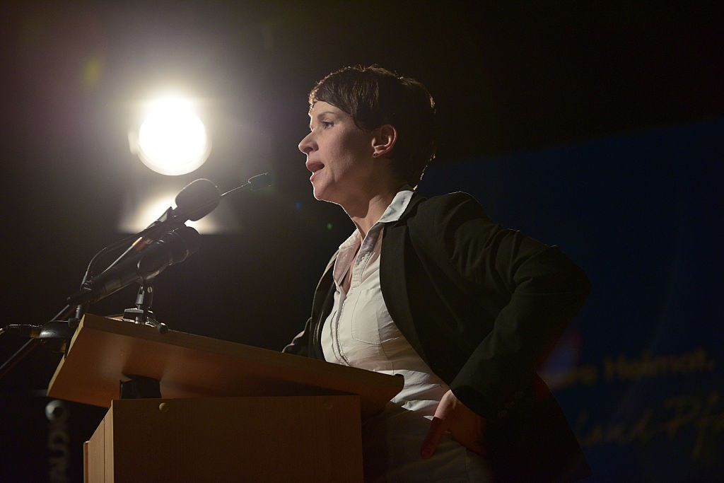 BAD KREUZNACH, GERMANY - MARCH 04:  The chairman of the party 'Alternative fuer Deutschland' (AfD, in English: Alternative for Germany) Frauke Petry speaks during an AfD Rhineland-Palatinate state election rally on March 4, 2016 in Bad Kreuznach, Germany. State elections scheduled for March 13 in three German states: Rhineland-Palatinate, Saxony-Anhalt and Baden-Wuerttemberg, will be a crucial test-case for German Chancellor and Chairwoman of the German Christian Democrats (CDU) Angela Merkel, who has come under increasing pressure over her liberal immigration policy towards migrants and refugees. The AfD, with campaign rhetoric aimed at Germans who are uneasy with so many newcomers, has solid polling numbers and will almost certainly win seats in all three state parliaments.  (Photo by Thomas Lohnes/Getty Images)
