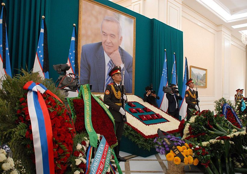 SAMARKAND, UZBEKISTAN - SEPTEMBER 03: Soldiers stand near a memorial during the funeral ceremony held for Uzbekistan's President Islam Karimov, who died after suffering brain hemorrhage, at the presidential residence in Samarkand, Uzbekistan on September 3, 2016. Karimov, 78, had been in intensive care since last Saturday for a cerebral hemorrhage. Karimov was Uzbekistans first and only president following the country's declaration of becoming an independent nation on Aug. 31, 1991.  (Photo by Bahtiyar Abdukerimov/Anadolu Agency/Getty Images)