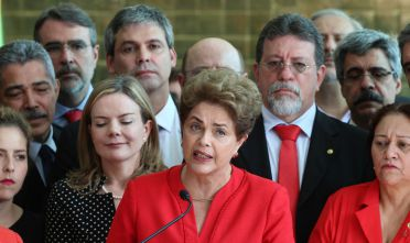 Dilma Rousseff, former president of Brazil, speaks after the vote was confirmed for her impeachment in Brasilia, Brazil, on Wednesday, Aug. 31, 2016. With 61 against 20 votes, the Senate found Rousseff guilty of bypassing Congress to finance government spending, allowing her vice president Michel Temer to serve out the term until the end of 2018. Photographer: Lula Marques/Bloomberg via Getty Images