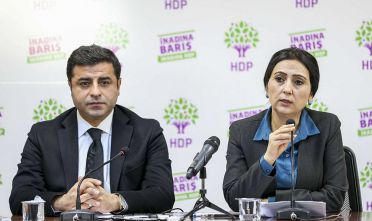 ANKARA, TURKEY - NOVEMBER 01:  Peoples Democratic Party (HDP) leaders Selahattin Demirtas (L) and Figen Yuksekdag (R) hold a press conference over the Turkeys 26th general election results at HDP headquarters in Ankara, Turkey on November 1, 2015. (Photo by Ahmet Izgi/Anadolu Agency/Getty Images)