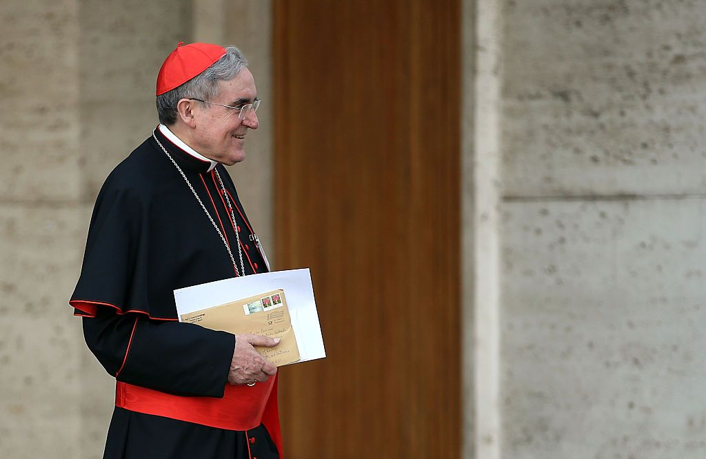 VATICAN CITY, VATICAN - OCTOBER 05:  Cardinal Daniel Nicholas DiNardo leaves the opening session of the Synod on the themes of family at Synod Hall on October 5, 2015 in Vatican City, Vatican. The main themes of this Synod of Bishops are 'The vocation and mission of the family in the Church and the contemporary world'.  (Photo by Giulio Origlia/Getty Images)