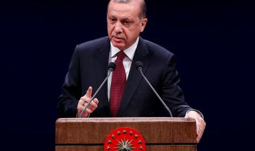 "ANKARA, TURKEY - NOVEMBER 22 : Turkish President Recep Tayyip Erdogan delivers a speech during ""Turkeys New Concept of Security"" conference organized by Turkish Police Academy at Presidental Complex in Ankara, Turkey on November 22, 2016.  (Photo by Murat Kaynak/Anadolu Agency/Getty Images)"
