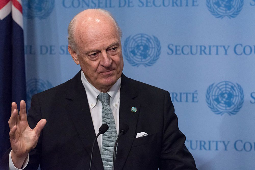 UN HEADQUARTERS, NEW YORK, NY, UNITED STATES - 2016/09/25: UN Special Envoy for Syria Staffan de Mistura speaks with the press follwing the emergency Security Council meeting. Following a United Nations Security Council emergency meeting on the worsening humanitarian crisis resulting from escalating attacks on the Syrian city Aleppo, at UN Headquarters in New York City, The UN Special Envoy for Syria Staffan de Mistura and UN Ambassadors from Syria and Russia spoke with the press at the Security Council stakeout. (Photo by Albin Lohr-Jones/Pacific Press/LightRocket via Getty Images)