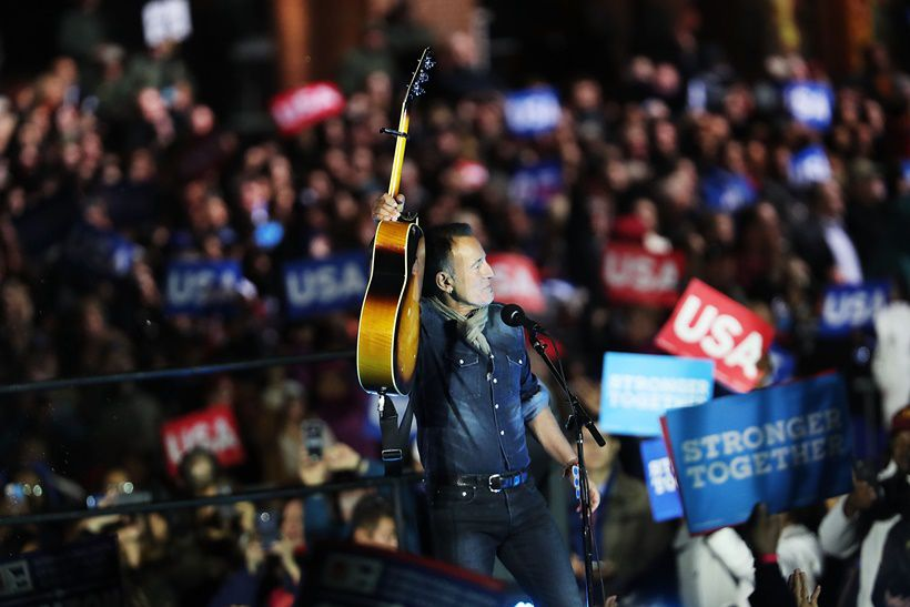PHILADELPHIA, PA - NOVEMBER 07: Musician Bruce Springsteen performs an election eve rally for Democratic presidential nominee former Secretary of State Hillary Clinton on November 7, 2016 in Philadelphia, Pennsylvania. As the historic race for the presidency of the United States comes to a conclusion, both Clinton and her rival Donald Trump are making their last appearances before voting begins tomorrow.  (Photo by Spencer Platt/Getty Images)