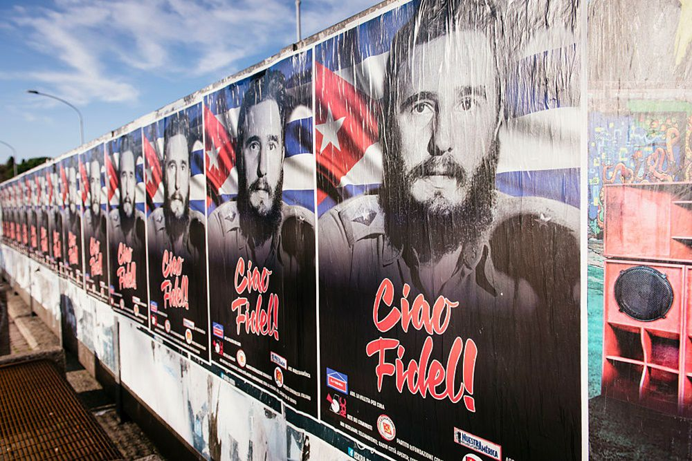Posters in honor of Fidel Castro in Rome, Italy, on 1st of December (Photo by Jacopo Landi/NurPhoto via Getty Images)