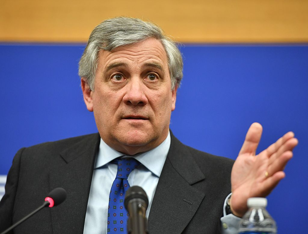 STRASBOURG, FRANCE - JANUARY 17 : Italian conservative Antonio Tajani holds a press conference after being elected as new president of European Parliament in Strasbourg, France, on January 17, 2017. The European Parliament (AP) has elected Italian politician Antonio Tajani as its new president to replace German Social Democratic politician Martin Schulz. Tajani was elected in the fourth round of voting as three rounds saw no absolute majority of votes. He won 351 votes against 282 for Gianni Pittella in the fourth round.   (Photo by Mustafa Yalcin/Anadolu Agency/Getty Images)
