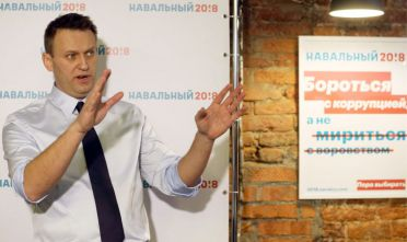 ST PETERSBURG, RUSSIA - FEBRUARY 4, 2017: Alexei Navalny, the founder of the Anti-Corruption Foundation, speaks at the opening of his first presidential election campaign office. In December 2016 Navalny announced his intention to run for presidency in 2018. Alexander Demianchuk/TASS (Photo by Alexander DemianchukTASS via Getty Images)
