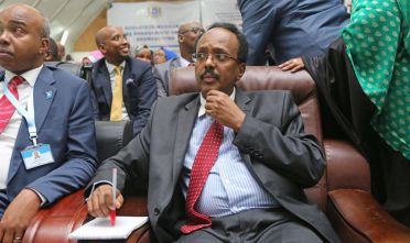 MOGADISHU, SOMALIA - FEBRUARY 08: Somalian new President Mohamed Abdullahi is seen after being elected as new President of Somalia at the parliament in Mogadishu, Somalia on February 08, 2017.    (Photo by Sadaq Mohamed/Anadolu Agency/Getty Images)