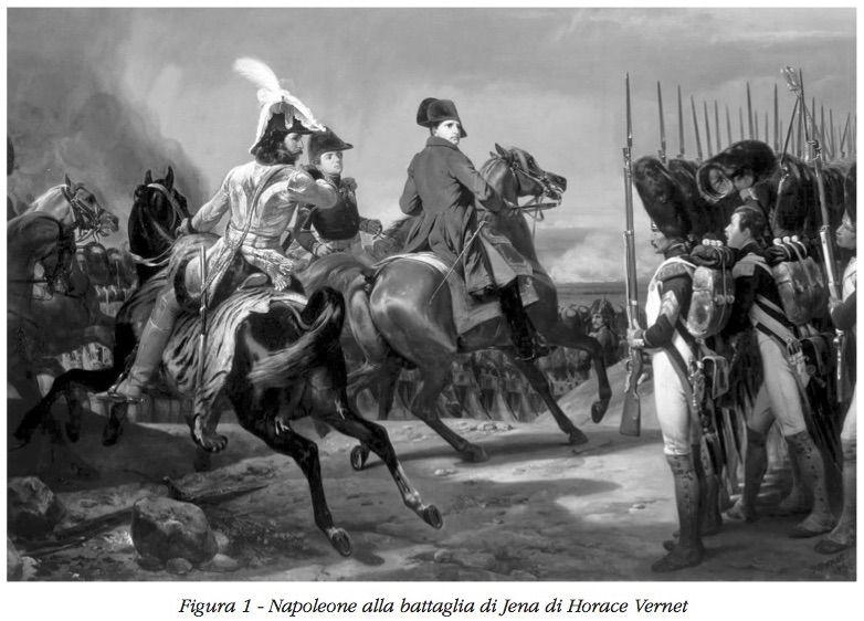 Napoleone nella battaglia di Jena in un dipinto di Horace Vernet, 1812.