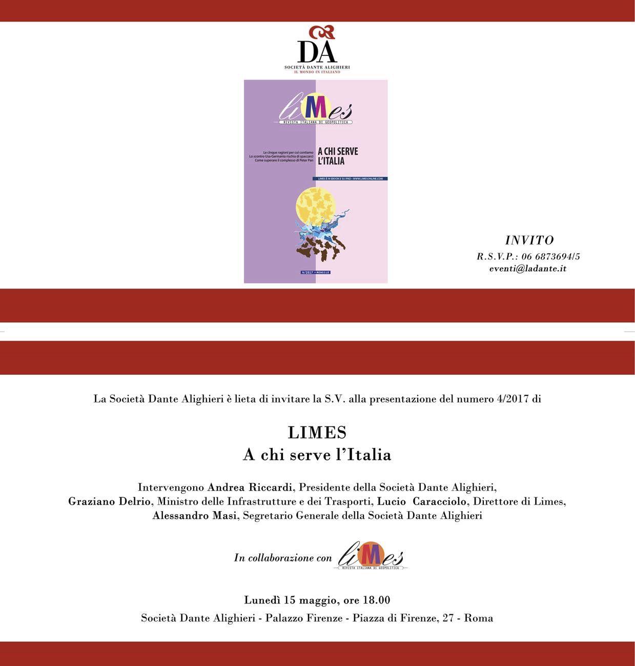 Societa Dante Alighieri - Programma Presentazione Limes 15 05 2017