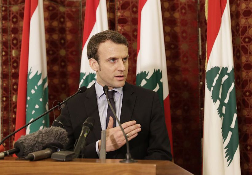 Emmanuel Macron, an independent candidate in France's presidential election in April, gives a press conference after meeting with Lebanon's Prime Minister at the government palace in Beirut on January 24, 2017. / AFP / JOSEPH EID        (Photo credit should read JOSEPH EID/AFP/Getty Images)