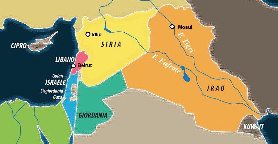 Dettaglio di una carta di Laura Canali. Localizzazione a cura di SiriaLibano