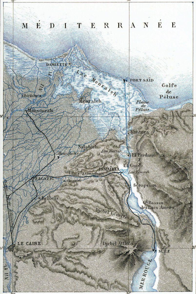 A. VUILLEMIN, «Isthme de Suez», vol. II, tav. XXVI, in J. ÉLISÉE RECLUS, La Terre, Paris 1869, Hachette.