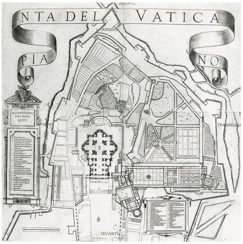 Pianta del Vaticano, incisione su rame di Martino Ferrabosco, edito dalla Reverenda Camera Apostolica, 1684