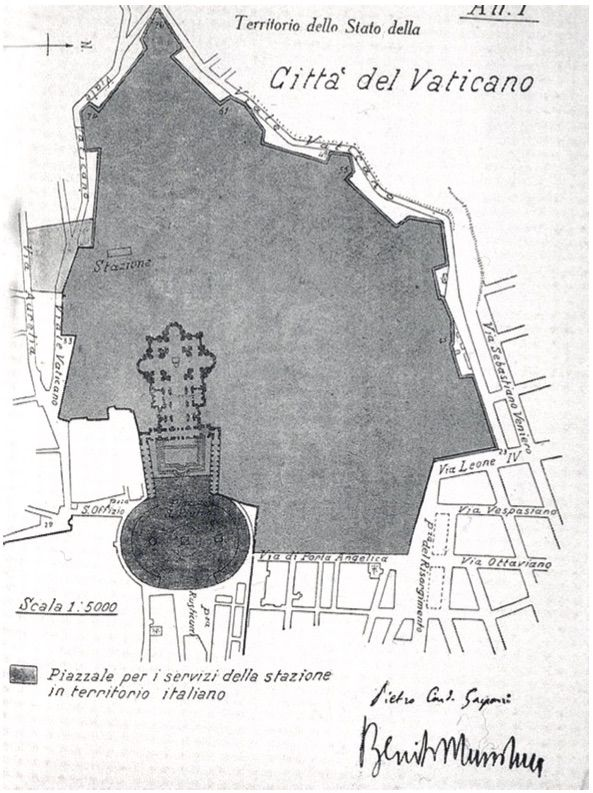 Territorio dello Stato della Città del Vaticano, pianta allegata ai Patti Lateranensi,Gazzetta Ufficiale n. 1130, 5 giugno 1929