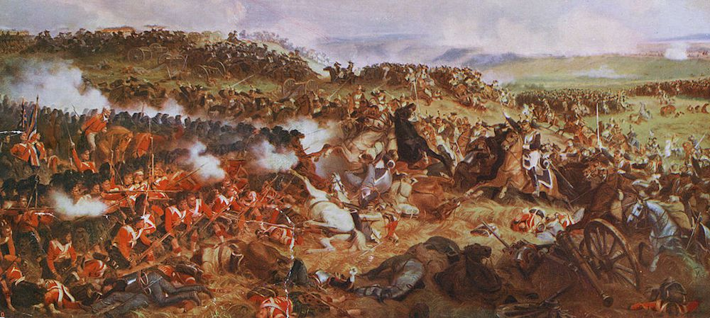 La battaglia di Waterloo. Dal quadro originale di Henri Felix Philippoteaux. Immagine tratta da: di Hulton Archive / Getty Images)