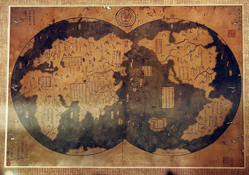 Copia del 1763 di una carta che riporta le scoperte di Zheng He del 1418 (Foto: FREDERIC J. BROWN/AFP/Getty Images).