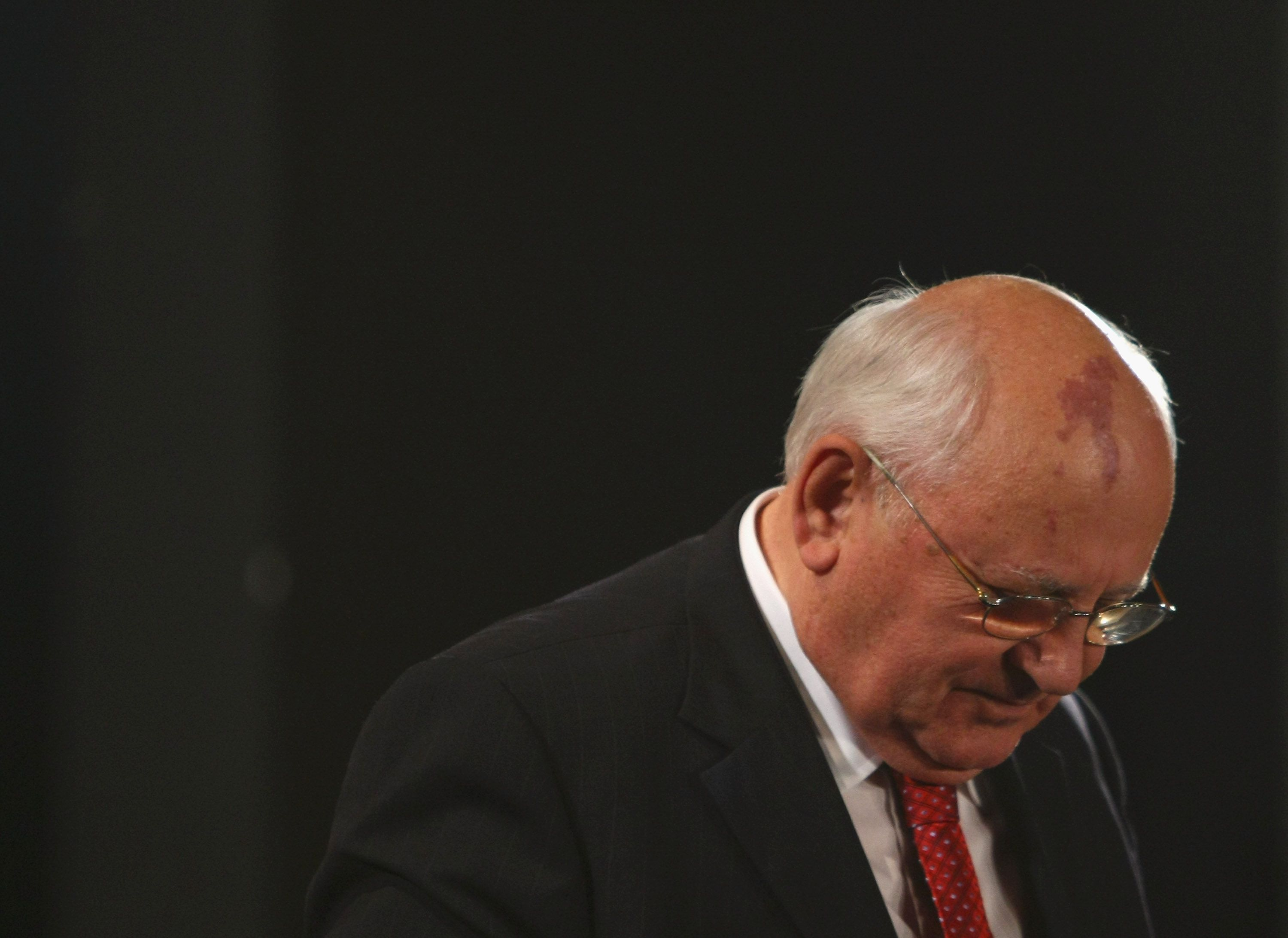 BERLIN - OCTOBER 03:  Former Soviet President Mikhail Gorbachev leaves the podium after receiving the Quadriga Award at the 2009 Quadriga Awards on October 3, 2009 in Berlin, Germany.  (Photo by Sean Gallup/Getty Images)