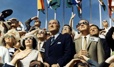 381858 01: 30Th Anniversary Of Apollo 11 Landing On The Moon (4 Of 20): Vice President Spiro Agnew And Former President Lyndon Johnson View The Liftoff Of Apollo 11 From The Stands Located At The Kennedy Space Center Vip Viewing Site. The Apollo 11 Saturn V Space Vehicle Lifted Off On July 16, 1969 And Was Injected Into Lunar Orbit On July 19 With Astronauts Neil A. Armstrong, Michael Collins And Edwin E. Aldrin Jr., At 9:32 A.M. Edt July 16, 1969, From Kennedy Space Center's Launch Complex In Florida. The Lm (Lunar Module) Landed On The Moon On July 20, 1969 And Returned To The Command Module On July 21. The Command Module Left Lunar Orbit On July 22 And Returned To Earth On July 24, 1969. Apollo 11 Splashed Down In The Pacific Ocean On 24 July 1969 At 12:50:35 P.M. Edt After A Mission Elapsed Time Of 195 Hrs, 18 Mins, 35 Secs.  (Photo By Nasa/Getty Images)