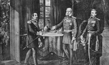 L'incontro a Chateau de Bellevue tra il kaiser Guglielmo I e l'imperatore francese Napoleone III per l'armistizio della guerra franco-prussiana (Foto: Hulton Archive/Getty Images).