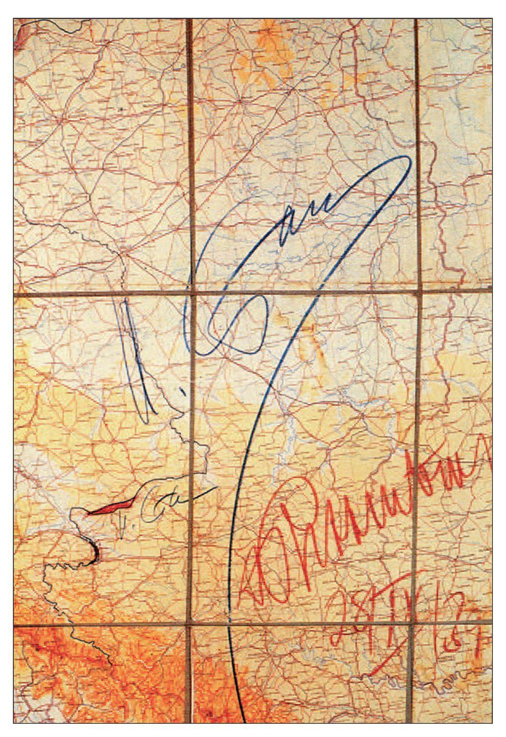 Carta che illustra l'intesa germano-sovietica sui confini lituani e polacco-tedeschi codificata nel protocollo segreto allegato al patto Molotov-Ribbentrop. Reca le firme di Stalin e di von Ribbentrop, con la data (28 settembre 1939). Fonte: Mercator's World, July-August 1998, volume 3 number 4, p. 60.