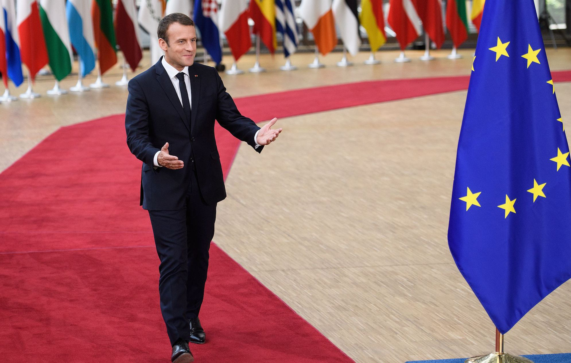 BRUSSELS, BELGIUM - JUNE 22:  French President Emmanuel Macron arrives for his first summit since winning the Presidency, at the EU Council headquarters ahead of a European Council meeting on June 22, 2017 in Brussels, Belgium.  In the first European summit since she lost her Commons majority in the general election, British Prime Minister Theresa May will outline her plans for the issue of expats' rights after Brexit. (Photo by Leon Neal/Getty Images)