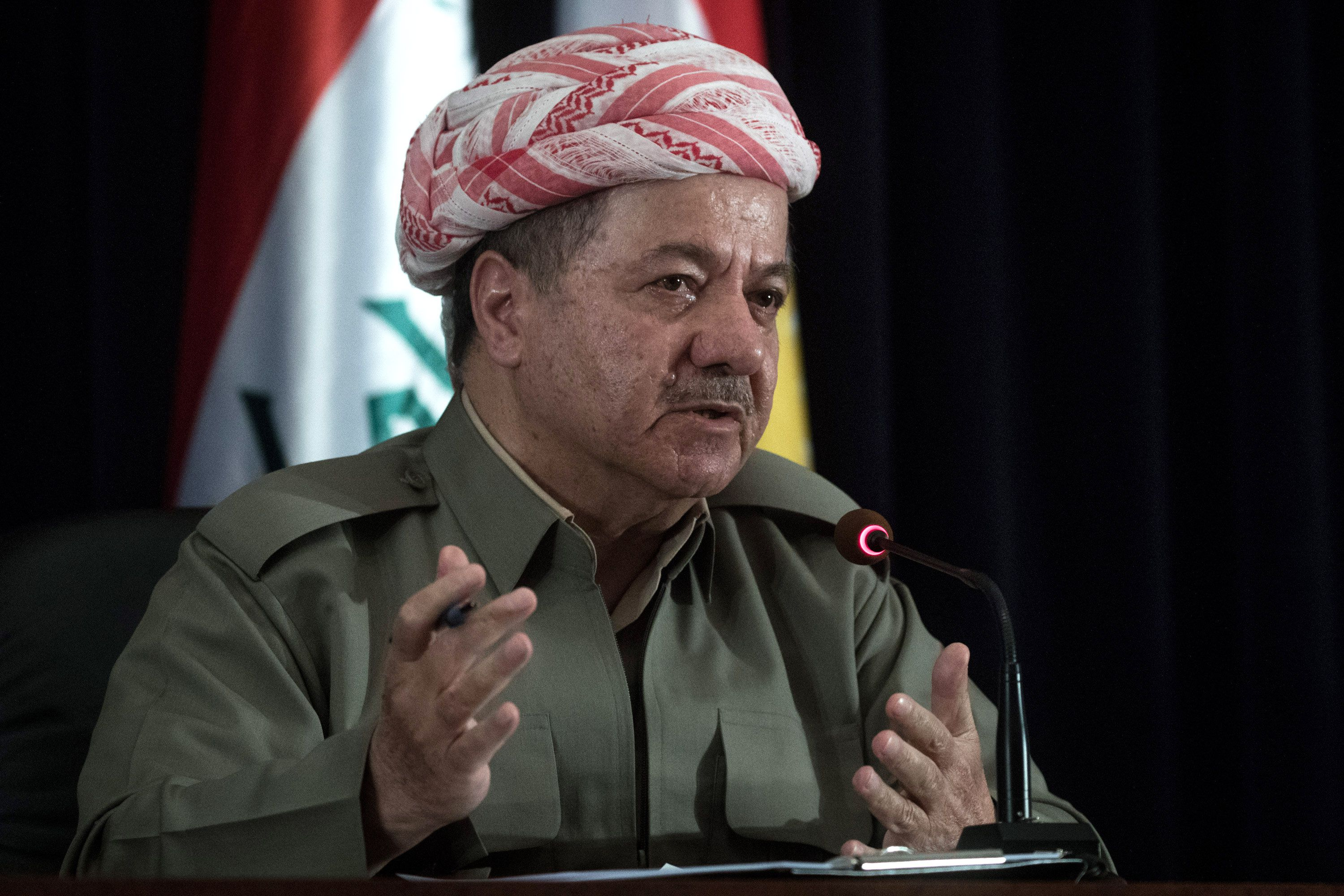 ERBIL, IRAQ - SEPTEMBER 24: Kurdistan President Masoud Barzani speaks to the media at a press conference on September 24, 2017 in Erbil, Iraq. President Barzani announced that the referendum will go ahead as planned. The Kurdish Regional government is preparing to hold the September 25, independence referendum despite strong objection from neighboring countries and the Iraqi government. (Photo by Chris McGrath/Getty Images)