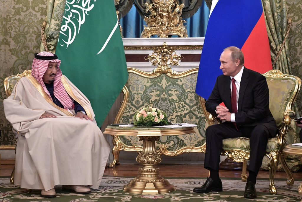 Russian President Vladimir Putin (R) meets with Saudi Arabia's King Salman bin Abdulaziz Al Saud at the Kremlin in Moscow on October 5, 2017. / AFP PHOTO / SPUTNIK / Alexey NIKOLSKY        (Photo credit should read ALEXEY NIKOLSKY/AFP/Getty Images)