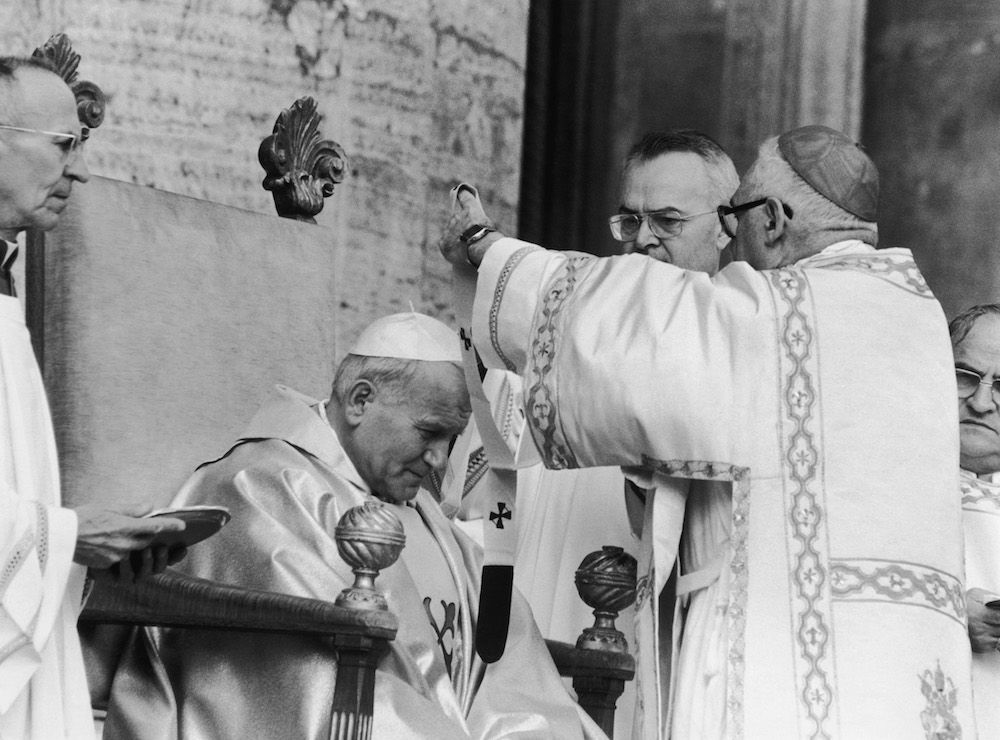Giovanni Paolo II durante le celebrazioni per il nuovo pontificato, ottobre 1978   (Foto: Keystone/Getty Images).