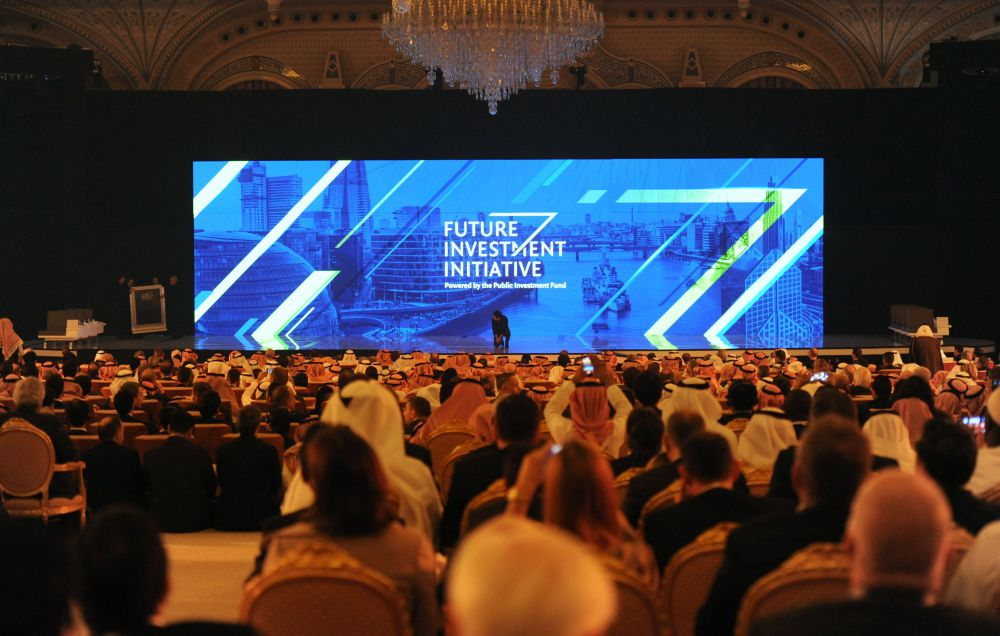 People attend the Future Investment Initiative (FII) conference in Riyadh, on October 24, 2017. The head of oil giant Saudi Aramco said that a lack of recent investments in the oil sector could lead to a shortage of supplies.  / AFP PHOTO / FAYEZ NURELDINE        (Photo credit should read FAYEZ NURELDINE/AFP/Getty Images)