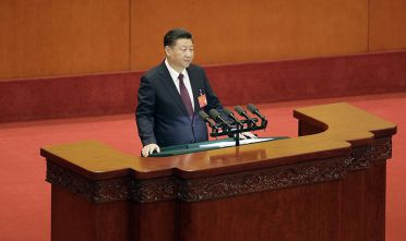 Xi Jinping, China's president, speaks during the opening of the 19th National Congress of the Communist Party of China at the Great Hall of the People in Beijing, China, on Wednesday, Oct. 18, 2017. Xi warned of severe challenges, as he kicked off a twice-a-decade party meeting that may signal if he will appoint a successor to rule after 2022. Photographer: