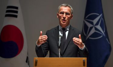 NATO Secretary-General Jens Stoltenberg speaks during a press conference wrapping up his trip to South Korea at the ASAN Institute for Policy Studies in Seoul on November 2, 2017.  / AFP PHOTO / JUNG Yeon-Je        (Photo credit should read JUNG YEON-JE/AFP/Getty Images)