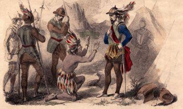 L'imperatore inca Atahualpa di fronte all'autore del suo rapimento, il conquistatore spagnolo Francisco Pizarro. (Immagine: Hulton Archive/Getty Images).
