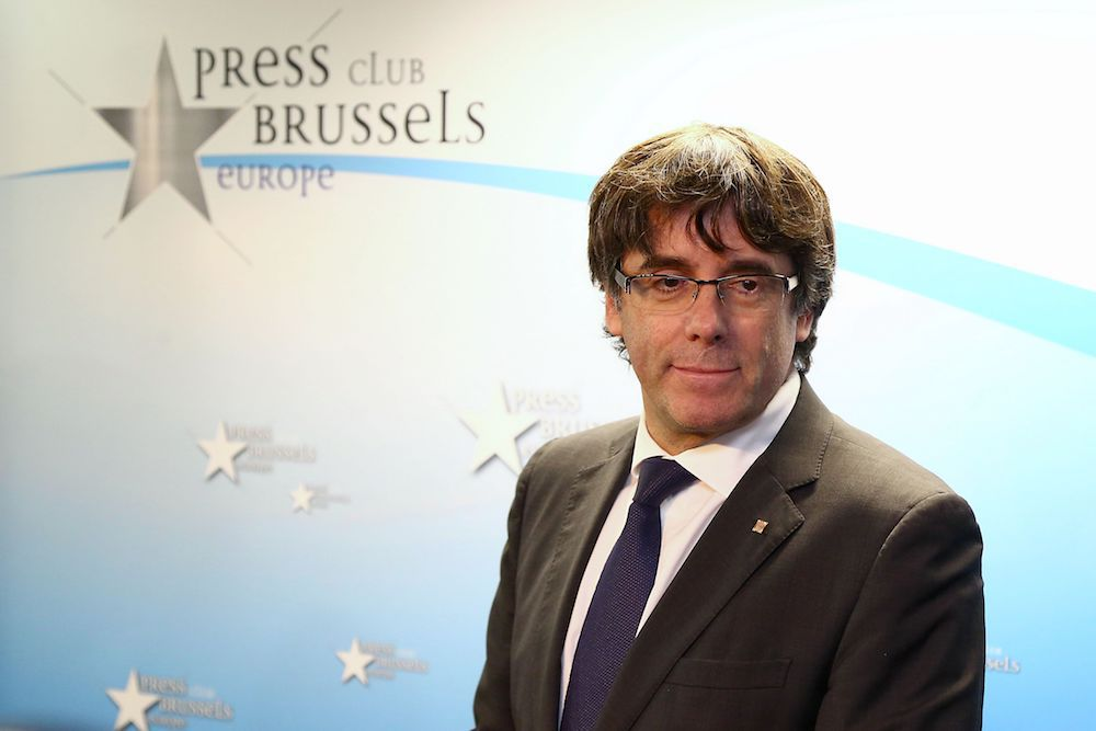 Carles Puigdemont, The Press Club, Bruxelles, 31 ottobre 2017 (Foto: AURORE BELOT/AFP/Getty Images).