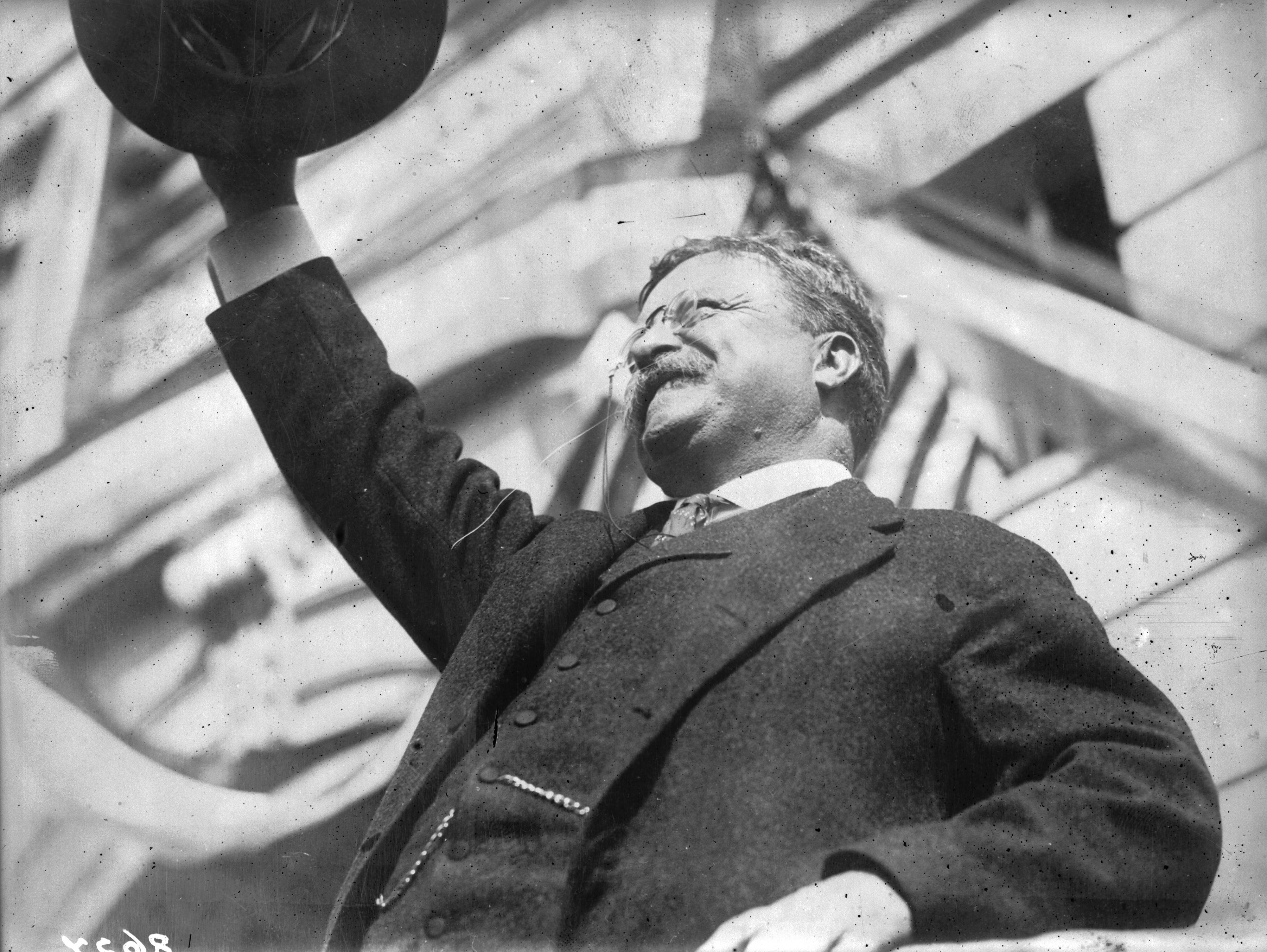 1912:  America's youngest president, Theodore Roosevelt (1858 - 1919), who succeeded William McKinley after his assassination. Roosevelt was a popular leader and the first American to receive the Nobel Peace Prize, which was awarded for his mediation in the Russo-Japanese war.  (Photo by Topical Press Agency/Getty Images)