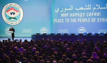 Una scena della sessione plenaria del Congresso del dialogo nazionale siriano tents a Sochi, 30 gennaio. Foto di: ALEXANDER NEMENOV/AFP/Getty Images
