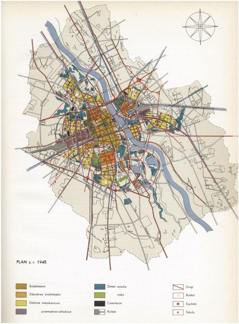 Planimetria di Varsavia in fase di ricostruzione dopo la seconda guerra mondiale.