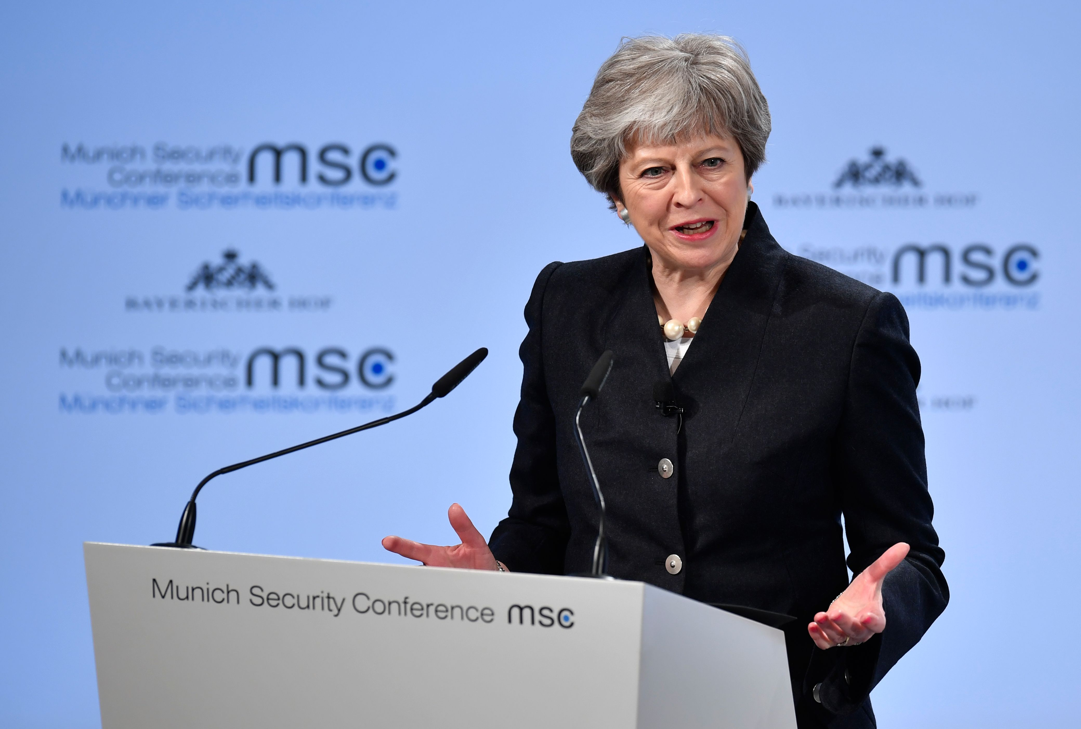 British Prime Minister Theresa May gives a speech during the Munich Security Conference on February 17, 2018 in Munich, southern Germany. Global security chiefs and top diplomats attend the annual Munich Security Conference running until February 18, 2018 to discuss Syria, Ukraine and other international conflicts and crises.  / AFP PHOTO / Thomas KIENZLE        (Photo credit should read THOMAS KIENZLE/AFP/Getty Images)