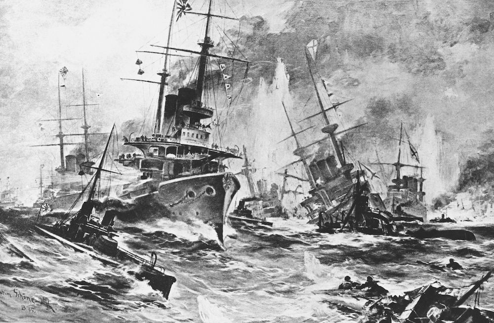 Illustrazione della battaglia di Tsushima, maggio 1905. (Hulton Archive/Getty Images).