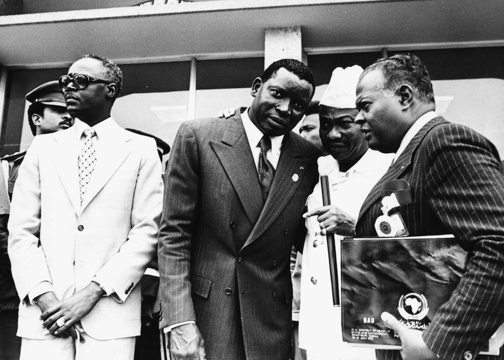 Il presidente del Togo Gnassingbé Eyadéma al centro; a sinistra Felix Malloum e a destra il presidente liberiano William Tolbert, Khartum, Sudan, 1978. (Foto: Amin Mohamed/Camerapix/Keystone/Getty Images).