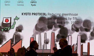 Un'illustrazione sullo sfondo sul protocollo di Kyoto alla UN Climate Change Conference di Bonn, novembre 2017  (Foto: STOLLARZ/AFP/Getty Images).