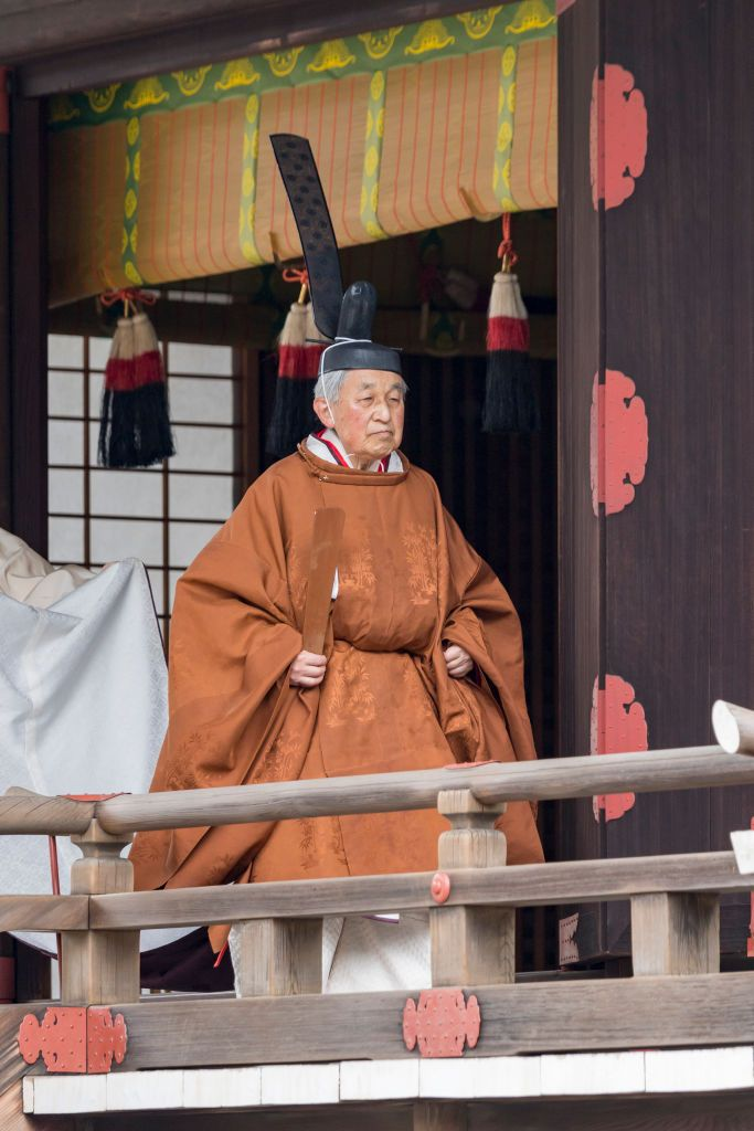 TOKYO, JAPAN - APRIL 30: (IMPERIAL HOUSEHOLD AGENCY HANDOUT/EDITORIAL USE ONLY/NO SALES/NO COMMERCIAL USE/NO MODIFICATION INCLUDING TRIMMING/MANDATORY CREDIT) In this handout image provided by Imperial Household Agency, Emperor Akihito is seen attending the abdication ceremony at the Imperial Palace on April 30, 2019 in Tokyo, Japan. (Photo by Handout/Imperial Household Agency of Japan via Getty Images)