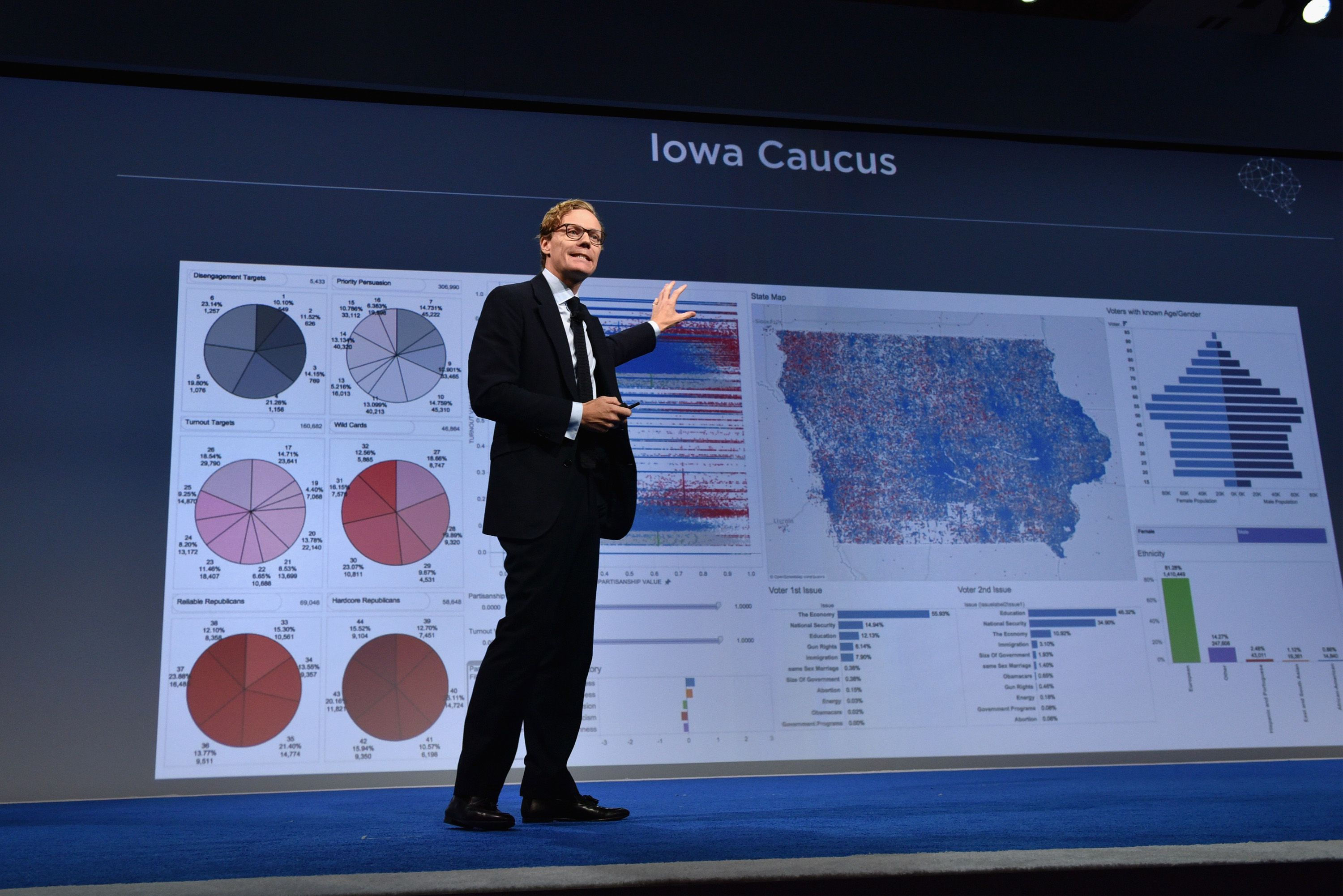 NEW YORK, NY - SEPTEMBER 19:  CEO of Cambridge Analytica Alexander Nix speaks at the 2016 Concordia Summit - Day 1 at Grand Hyatt New York on September 19, 2016 in New York City.  (Photo by Bryan Bedder/Getty Images for Concordia Summit)