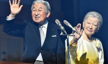 L'imperatore giapponese Akihito e l'imperatrice Michiko al Palazzo Imperiale di Tokyo, gennaio 2018 (Foto: KAZUHIRO NOGI/AFP/Getty Images).