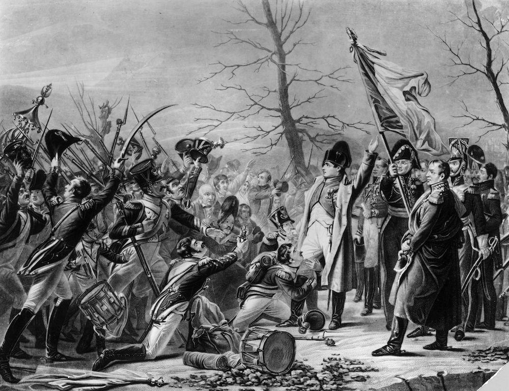 Immagine di Napoleone al suo rientro dall'isola d'Elba accolto dai suoi fedelissimi (Immagine: Rischgitz/Getty Images).