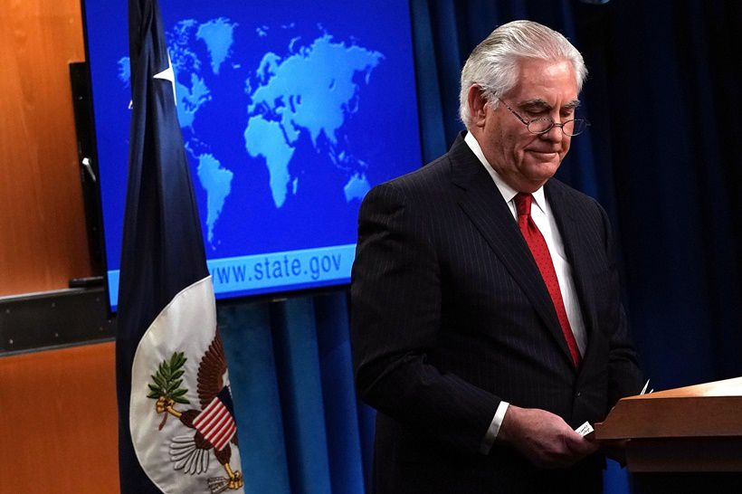WASHINGTON, DC - MARCH 13: Outgoing U.S. Secretary of State Rex Tillerson leaves after he made a statement on his departure from the State Department March 13, 2018 at the State Department in Washington, DC. President Donald Trump has nominated CIA Director Mike Pompeo to replace Tillerson to be the next Secretary of State. (Photo by Alex Wong/Getty Images)