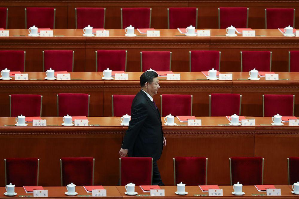Xi Jinping durante la sessione di chiusura del XIX Congresso Nazionale Cinese, ottobre 2017 (Foto: Lintao Zhang/Getty Images).