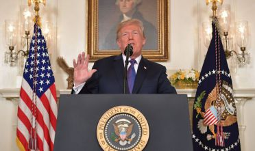 US President Donald Trump addresses the nation on the situation in Syria April 13, 2018 at the White House in Washington, DC. Trump said strikes on Syria are under way.  / AFP PHOTO / Mandel NGAN        (Photo credit should read MANDEL NGAN/AFP/Getty Images)